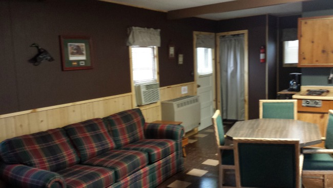 Inside cabin at Cozy Corner Cottages in Onalaska, Wisconsin
