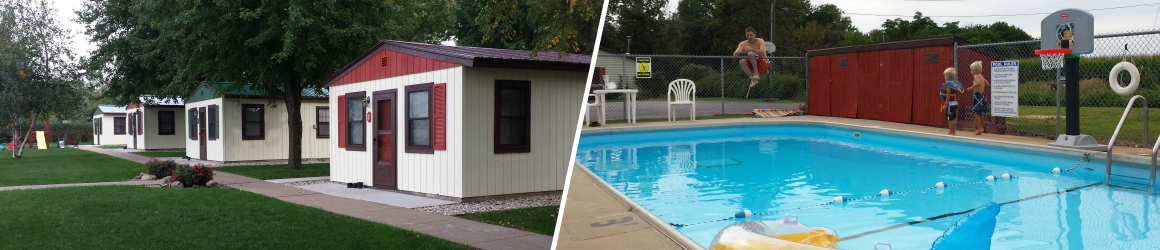 Cabins and in-ground pool at Cozy Corner Cottages
